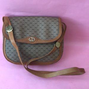 Vintage tan/orange Gucci coated canvas/leather bag